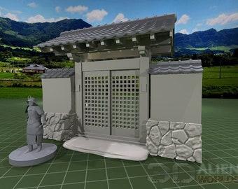 "Samurai - Stone Walls - DND - Pathfinder - Dungeons & Dragons - Warhammer - Test of Honour - RPG - Tabletop - 28 mm / 1"""