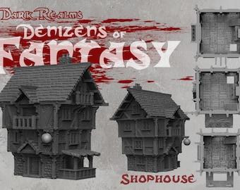 Shophouse - DND - Dungeons & Dragons - RPG - Pathfinder - Tabletop - TTRPG - Demizens of Fantasy - Dark Realms - 32 mm