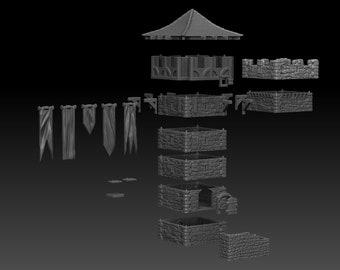 The Watchtower - DND - Dungeons & Dragons - RPG - Pathfinder - Tabletop - TTRPG - Medieval Scenery - Dark Realms - 28 mm