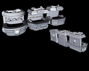 "Black Market Stalls - Novus Landing - Starfinder - Cyberpunk - Science Fiction - Syfy - RPG - Tabletop - Scatter - Terrain - 28 mm /1"" Scale"