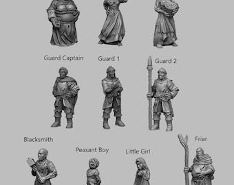 Npc's - DND - Dungeons & Dragons - RPG - Pathfinder - Tabletop - TTRPG - Medieval Scenery - Dark Realms - 28 mm