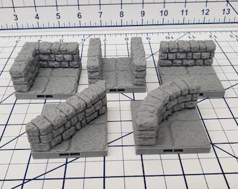 """Dungeon Style - Half Walls - DragonLock - DND - Pathfinder - RPG - Dungeon & Dragons - 28 mm / 1"""" - Terrain - Fat Dragon Games"""
