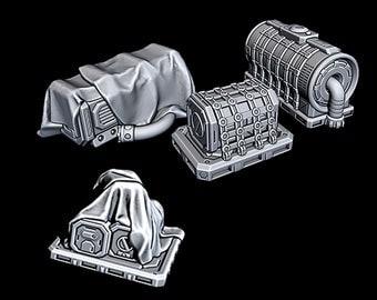 "Cargo Items - Novus Landing - Starfinder - Cyberpunk - Science Fiction - Syfy - RPG - Tabletop - Scatter - Terrain - 28 mm / 1"" Scale"