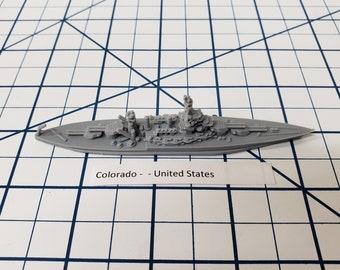 Battleship - Colorado - 1942 Variant - US Navy - Wargaming - Axis and Allies - Naval Miniature - Victory at Sea - Tabletop Games - Warships