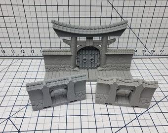 City Walls Gate Sections - DragonLock - Asian Adventures - Samurai - Ronin- DND - Pathfinder - Dungeons & Dragons - Test of Honour - RPG