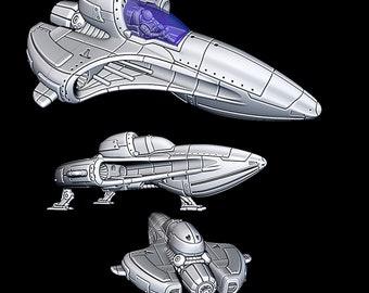 "Starfighter 2 - Novus Landing - Starfinder - Cyberpunk - Science Fiction - Syfy - RPG - Tabletop - Scatter- Terrain- 28 mm / 1"""
