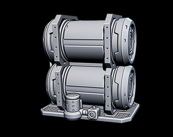 "Hanger Fuel Tanks - Novus Landing - Starfinder - Cyberpunk - Science Fiction - Syfy - RPG - Tabletop - Scatter - Terrain - 28 mm / 1"""
