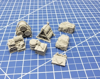 """Cargo Set - Savage Atoll - DND - Dungeons & Dragons - RPG - Tabletop - EC3D - Miniature - 28 mm - 1"""" scale"""