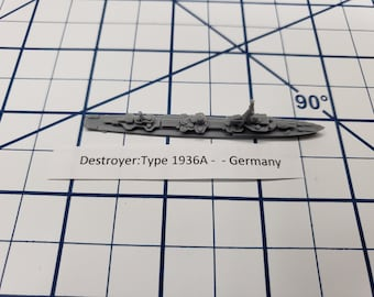 Destroyer - Type 1936A - German Navy - Wargaming - Axis and Allies - Naval Miniature - Victory at Sea - Tabletop Games - Warships