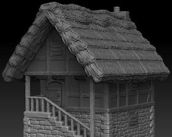 House 1 - DND - Dungeons & Dragons - RPG - Pathfinder - Tabletop - TTRPG - Medieval Scenery - Dark Realms - 28 mm