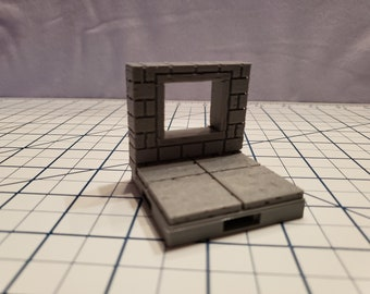 """Cut Stone Square Window Tiles - OpenLock or DragonLock - Openforge - DND - Pathfinder - Dungeons & Dragons - RPG - Tabletop - 28 mm / 1"""""""
