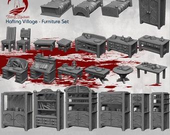 Furniture Set - DND - Dungeons & Dragons - RPG - Pathfinder - Tabletop - TTRPG - Halfling Village - Dark Realms - 28 mm