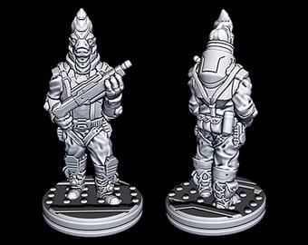 "Alien Bounty Hunter - Novus Landing - Starfinder - Cyberpunk - Science Fiction - Syfy - RPG - Tabletop - Scatter- Terrain- 28 mm / 1"""