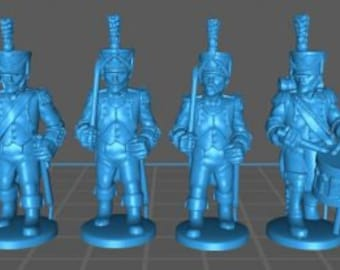 French Line Command 1808, high uniform - Great for Table Top War Games And Dioramas - Resin 28mm Miniatures - Bolt Action -