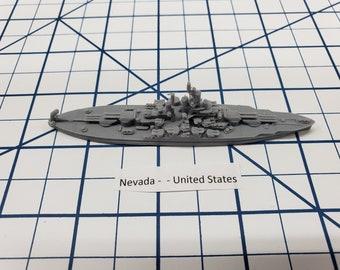 Battleship - Nevada - 1944 Variant - US Navy - Wargaming - Axis and Allies - Naval Miniature - Victory at Sea - Tabletop Games - Warships