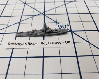 Destroyer - River Class - Royal Navy - Wargaming - Axis and Allies - Naval Miniature - Victory at Sea - Tabletop Games - Warships