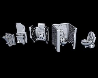 "Bathroom - Novus Landing - Starfinder - Cyberpunk - Science Fiction - Syfy - RPG - Tabletop - Scatter - Terrain - 28 mm / 1"" Scale"