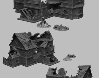 Ruined Tavern - DND - Dungeons & Dragons - RPG - Pathfinder - Tabletop - TTRPG - Medieval Scenery - Dark Realms - 28 mm