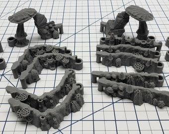 "DungeonSticks - Mushroom Grove Premium Set 100 Tiles! - DND - Pathfinder - Dungeons & Dragons - Terrain - RPG - Tabletop - 28 mm / 1"""
