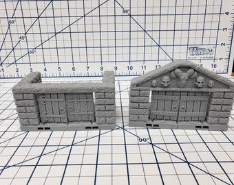 "Dungeon Style - Double Doors - DragonLock - DND - Pathfinder - RPG - Dungeon & Dragons - 28 mm / 1"" - Terrain - Fat Dragon Games"