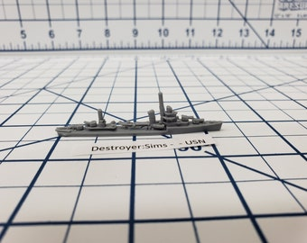 Destroyer - Sims Class - USN - Wargaming - Axis and Allies - Naval Miniature - Victory at Sea - Tabletop Games - Warships