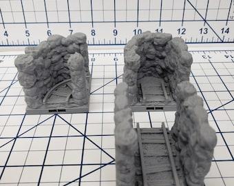 "Caverns - Narrow Passage Tiles- DragonLock - DND - Pathfinder - RPG - Dungeon & Dragons - 28 mm / 1"" - Terrain - Fat Dragon Games"