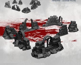 Scatter Walls Set - DND - Dungeons & Dragons - RPG - Pathfinder - Tabletop - TTRPG - Arkenfel - Dark Realms - 28 mm