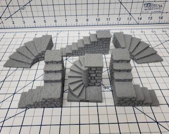 "Dungeon Style - Stairs - DragonLock - DND - Pathfinder - RPG - Dungeon & Dragons - 28 mm / 1"" - Terrain - Fat Dragon Games"