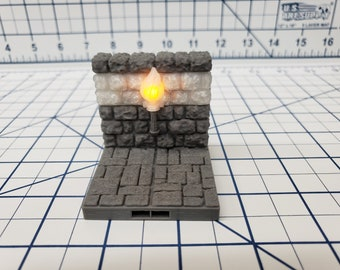 """Castle Style - LED Torch Wall Tiles - DragonLock - DND - Pathfinder - RPG - Dungeon & Dragons - 28 mm / 1"""" - Terrain - Fat Dragon Games"""