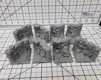 "Caverns - Wavy Wall and Corner Tiles- DragonLock - DND - Pathfinder - RPG - Dungeon & Dragons - 28 mm / 1"" - Terrain - Fat Dragon Games"