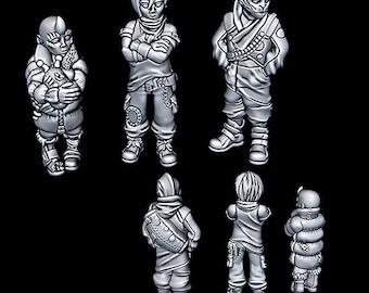 "Alien Slum Kids - Novus Landing - Starfinder - Cyberpunk - Science Fiction - Syfy - RPG - Tabletop - Scatter- Terrain- 28 mm / 1"""