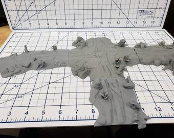 "Dirt Road Terrain Pieces  - OpenLock - DND - Pathfinder - Dungeons & Dragons - Warhammer - RPG - Tabletop - 28 mm / 1"""