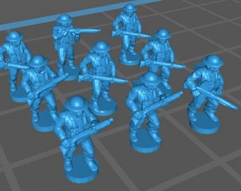 WW2 UK infantry - Great for Table Top War Games And Dioramas - Resin 15mm Miniatures - Bolt Action -