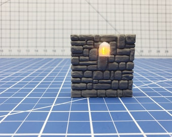 """Stone Torch Wall - Dragonshire - Building - Fat Dragon Games - DND - Pathfinder - RPG - Terrain - 28 mm/ 1"""" - Dungeon & Dragons"""