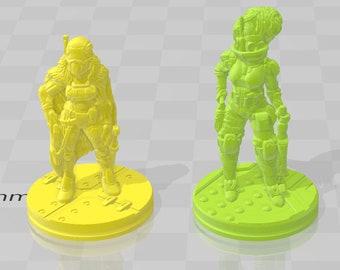 "Female Bounty Hunter - Novus Landing - Starfinder - Cyberpunk - Science Fiction - Syfy - RPG - Tabletop - Scatter- Terrain- 28 mm / 1"""