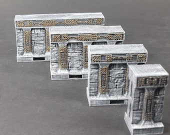 """Dwarven Hall Wall Tiles - OpenLock or DragonLock - Openforge - DND - Pathfinder - Dungeons & Dragons - RPG - Tabletop - 28 mm / 1"""""""