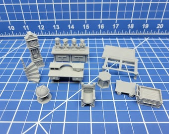 """Library/Study Item Set - Library & Study Accessories - Hero's Hoard - EC3D - DND - RPG - Pathfinder - 28 mm / 1"""" scale"""