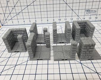 """Dungeon Style - Hallways and Pillar - DragonLock - DND - Pathfinder - RPG - Dungeon & Dragons - 28 mm / 1"""" - Terrain - Fat Dragon Games"""