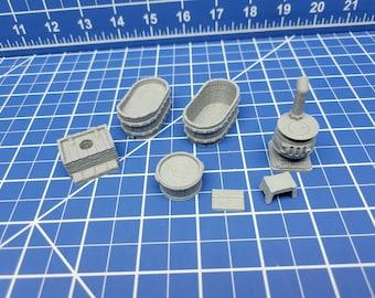 "Bathroom Set - Inn and Tavern Accessories - Hero's Hoard - EC3D - DND - RPG - Pathfinder - 28 mm / 1"" scale"