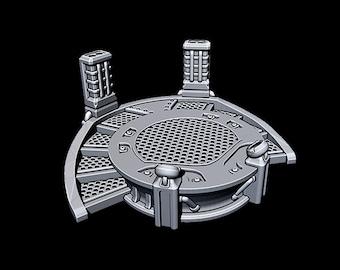 "Round Stage - Novus Landing - Starfinder - Cyberpunk - Science Fiction - Syfy - RPG - Tabletop - Scatter- Terrain- 28 mm / 1"""