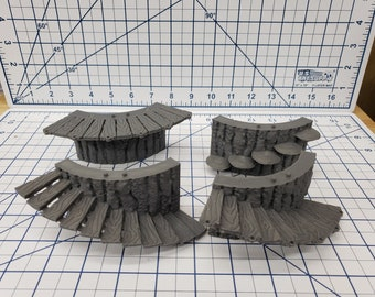 Forest of Oakenspire - Small Tree Exterior Stair Tiles - OpenLock - DND - Pathfinder - Dungeons & Dragons - RPG - Tabletop - EC3D - 28 mm