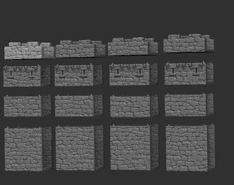 Castle Walls - DND - Dungeons & Dragons - RPG - Pathfinder - Tabletop - TTRPG - Medieval Scenery - Dark Realms - 28 mm