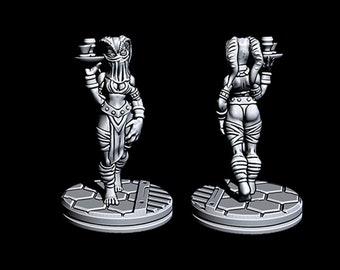 "Alien Waitress - Novus Landing - Starfinder - Cyberpunk - Science Fiction - Syfy - RPG - Tabletop - Scatter- Terrain- 28 mm / 1"""