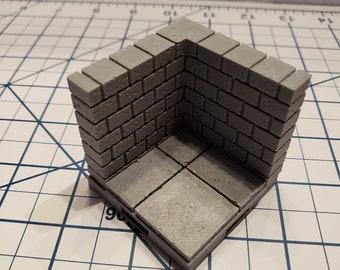 "Cut Stone Corner Walls - OpenLock or DragonLock - Openforge - DND - Pathfinder - Dungeons & Dragons - RPG - Tabletop - 28 mm / 1"""