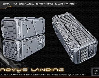 """Cargo Shipping Container - Novus Landing - Starfinder - Cyberpunk - Science Fiction - Syfy - RPG - Tabletop - Scatter - Terrain - 28mm/1"""""""