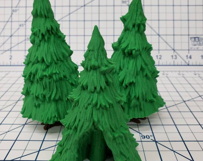 """Featured listing image: The Wilds of Wintertide Pine Trees - EC3D  - DND - Pathfinder - Dungeons & Dragons - RPG - Tabletop  - 28 mm / 1"""" - Scatter Terrain"""