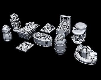 "Black Market Items - Novus Landing - Starfinder - Cyberpunk - Science Fiction - Syfy - RPG - Tabletop - Scatter - Terrain - 28 mm / 1"" Scale"