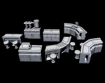 "Cantina Bar Modular Pieces - Novus Landing - Starfinder - Cyberpunk - Science Fiction - Syfy - RPG - Tabletop - Scatter - Terrain - 28mm/1"""