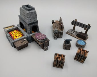 Blacksmith Forge and Workshop Set  - Hero's Hoard - DND - Pathfinder - Dungeons & Dragons - RPG - Tabletop - EC3d