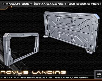 "Hanger Doors - Novus Landing - Starfinder - Cyberpunk - Science Fiction - Syfy - RPG - Tabletop - Scatter - Terrain - 28 mm / 1"""